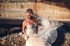 Style shoot captured by Miles Witt Boyer. #bridal #daring #veil #lazaro #styled #sparkle #outdoor