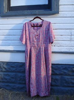 1940s Pink and Gray Repro House Dress Plus Size by bycinbyhand, $58.00
