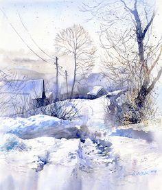 Акварель. Зимние пейзажи Польский архитектор и художник G. Wrobel рисует снег ультрамарином