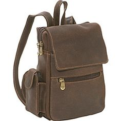 Le Donne Leather Distressed Leather Womens Backpack/Purse - Chocolate - via eBags.com!