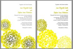 Free printable yellow and gray watercolor chrysanthemum wedding invitation. Free Printable Wedding Invitations, Yellow Wedding Invitations, Invites, Free Wedding, Wedding Ideas, Wedding Card, Wedding Inspiration, Wedding Crafts, Wedding Decorations