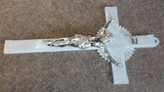 60s White MOP Lucite Catholic Crucifix 11 3/4 inches long.
