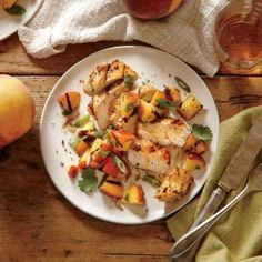 Spiced Chicken with Grilled Peach Salsa | CookingLight.com #myplate #protein #veggies #fruit