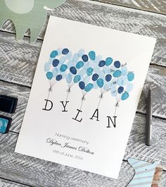 Naming Day Guest book 2 ink pads. by DaisywoodCreative on Etsy china size Christening /Naming Day, Baby Fingerprint Guest Book incl 2 inks Nursery print, Personalised gift for baby, FREE delivery Aust. Birthday Name, Birthday Cards, Birthday Book, Baby Shower Fingerprint, Fingerprint Art, Thumbprint Guest Books, Naming Ceremony, Name Day, Party