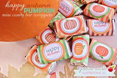 Happy Autumn Pumpkin Candy Bar Wrappers - JW Illustrations