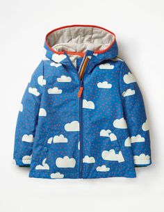 Kids Sherpa Lined Gilet Organic Cotton Unisex Rainforest Print for Boys Girls Sherpa Fleece Lined