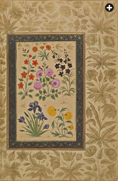 Produced in the 1630's for Mughal prince Dara Shikoh, this folio elegantly depicts several flowers of Central Asia and Kashmir including sev...