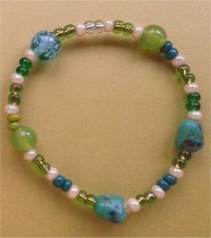 Stretchy glass bead bracelet for the young or young at heart