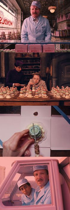 The pastel colors of Mendl's in The Grand Budapest Hotel, directed by Wes Anderson.