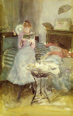"artist-whistler: "" Pink Note: The Novelette via James McNeill Whistler Size: 15.56x25.4 cm Medium: watercolor"""