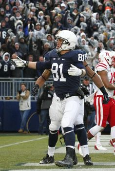 PENN STATE – FOOTBALL 2013 – Adam Breneman #81 of the Penn State Nittany Lions celebrates after catching a 2 yard touchdown pass against the Nebraska Cornhuskers during the game on November 23, 2013 at Beaver Stadium in State College, Pennsylvania. (Photo by Justin K. Aller/Getty Images)