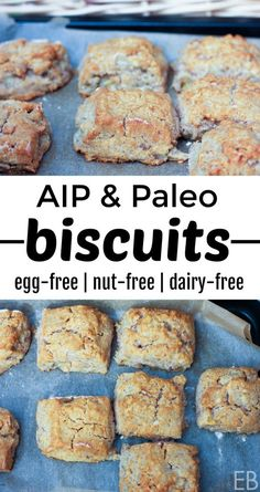 Aip Biscuits And Paleo Egg-Free Nut-Free Dairy-Free You'll Love Having Flaky, Tender Biscuits Again Delicious Alongside Breakfast, Lunch Or Dinner Dairy Free Recipes, Gluten Free Recipes, Real Food Recipes, Diet Recipes, Cookie Recipes, Yummy Food, Paleo Menu, Paleo Cookbook, Paleo Diet