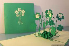Four Leaf Clover pop-up card by PaperBearIE on Etsy https://www.etsy.com/au/listing/225881690/four-leaf-clover-pop-up-card