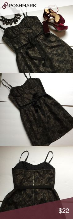 """NEW LISTING American Eagle lace dress❤️❤️❤️❤️ NEW LISTING American Eagle outfitters lace dress that has black lining. The dress has zipper in back and adjustable straps. EUC and only. Worn once. Ribbon tie at waist. The dress is approx 31"""" from top of strap to bottom hem. American Eagle Outfitters Dresses"""