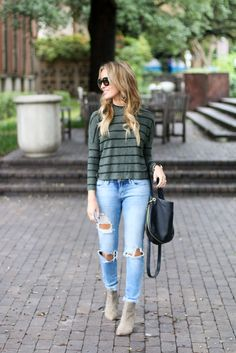 Style Blogger, Lauren Sims spotted in our Sera Striped Sweater. Available on www.norestforbridget.com. #styleblogger