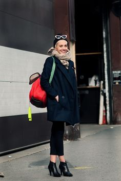 Meredith Wendell Bag & Balenciaga Shoes - i love the crops with the pea coat