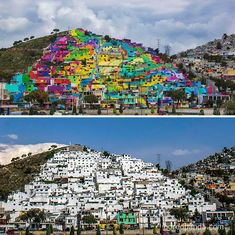 The Whole Town Gets Repainted In Vibrant Graffiti, Palmitas, Mexico (before-after-street-art-boring-wall-transformation). Murals Street Art, Land Art, Art Du Monde, Empty Canvas, Art Gallery, Grafiti, Beautiful Streets, Eco Friendly House, Home Pictures