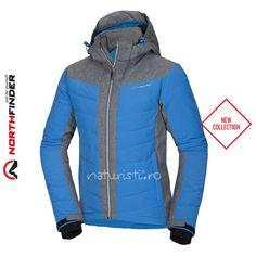 Geacă de ski bărbați - Northfinder, Kazik - albastru - cu izolație 3D sintetică. Membrana impermeabilă cu banda de etanșare și aerisire oferă un control remarcabil al corpului. Sport, Ski, Winter Jackets, Hoodies, Sweaters, Fashion, Deporte, Winter Coats, Moda