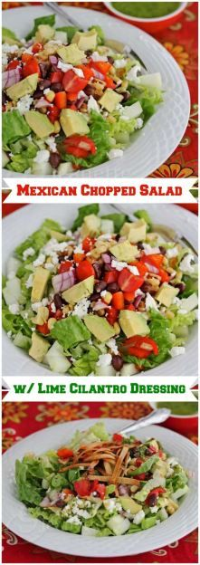 Mexican Chopped Salad with Lime Cilantro Dressing recipe. Perfect healthy dinner idea!