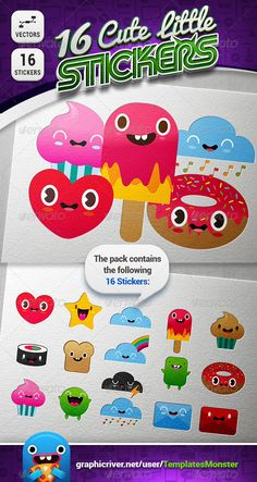 16 Stickers by TemplatesMonster This is a set of 16 Cute little things and monsters, that you can use for stickers, icons, labels, mini logos, etc.. Whats in the