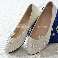 Women's Shoes Leather Flat Heel Pointed Toe Flats Wedding/Party & Evening White - USD $44.99