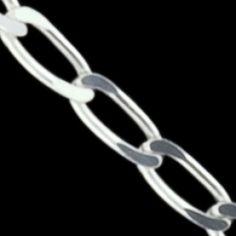 Sterling silver bracelet. Flat, polished chain design.