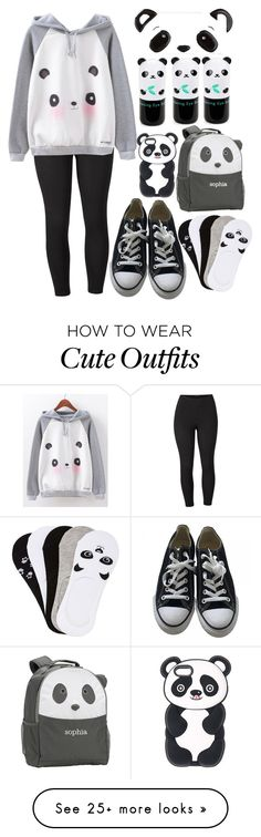 """Cute Panda Outfit"" by clairitylim on Polyvore featuring Venus, Converse, Tony Moly, PBteen, Charlotte Russe and plus size clothing"