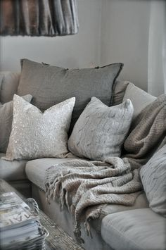 textures and shades of grey - cushions and throws                              …