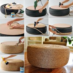 Old Tire Rope Ottoman Super Simple DIY Video Tutorial - . Old Tire Rope Ottoman super easy DIY video tutorial – Recycled Bottles, Plastic Bottles, Soda Bottles, Diy Simple, Easy Diy, Diy Videos, Diy Divan, Tire Furniture, Recycled Furniture