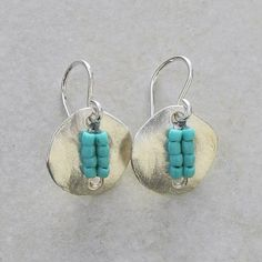 Silver Button Earrings with Turquoise Seed by RocaJewelryDesigns