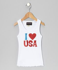 Take a look at this White Glitter I Love USA Tank - Infant, Toddler & Girls by Zazzy Zebra on #zulily today!