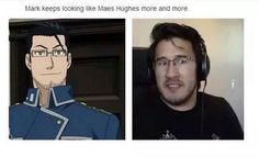 "Whenever I first watched Fullmetal Alchemist, I saw this dude and I was like, ""Wait he looks like someone"" and I just now realized who I thought he looked like. Markiplier, Pewdiepie, Fulmetal Alchemist, Alphonse Elric, Jack And Mark, Youtube Gamer, Septiplier, Fullmetal Alchemist Brotherhood, Best Youtubers"
