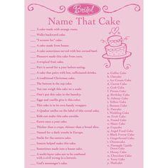 Bridal Game Sheets 50/Pkg-Name That Cake