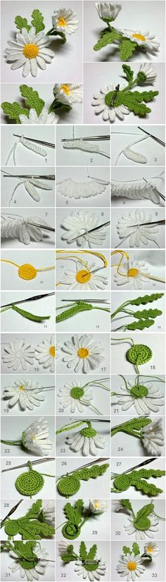 かぎ針編み3DデイジーMワンダフルDIYかぎ針編みの3Dデイジーの花