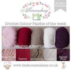 Crochet Colour Palette: Be Mine Valentine - Rooster Almerino Aran - The Homemakery