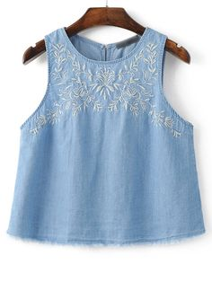 Blue Sleeveless Embroidery Raw-edgeed Cut Vest