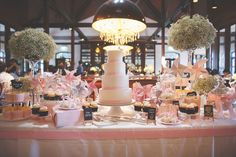 Pretty pink and white dessert table // Jeffrey and Daphne's Exquisite Wedding at Alkaff Mansion