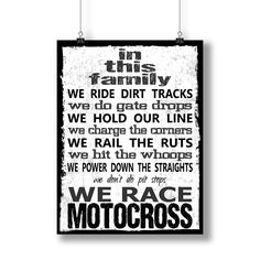 """""""In This Family"""" motocross poster or photo print. This design is available as a """"POSTER"""" print (printed on matte or glossy poster paper or premium cardstock in the 11 x 17 size) or a """"PHOTO"""" print (pr"""