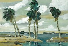"""Palms and Trade Winds,"" Jane Peterson, watercolor and gouache on paper, 15 x 22"", private collection."
