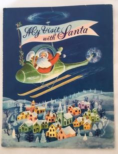Vintage Santa Claus Helicopter Pilot Colorful Snowy Neighborhood Vintage Christmas Card designed to hold a photo of a child's visit with Santa. Circa 1950s.