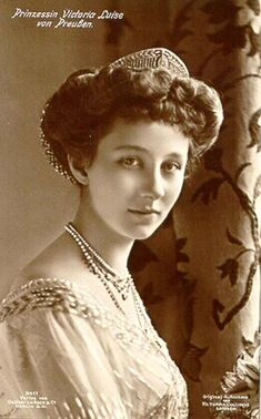 Princess Viktoria Luise of Prussia (13 Sept. 1892--11 Dec. 1980), 7th and youngest child and only daughter of Empress Augusta Viktoria and Kaiser Wilhelm II of Germany.  As the only daughter of the Kaiser, Viktoria Luise grew up a bit spoiled.  She wed Prince Ernst Augustus, Duke of Brunswick and Prince of Hanover and became the mother of a queen, grandmother of a queen, and grandmother of a king.