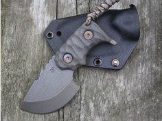 "WANDER TACTICAL TRYCERATOPS BLACK FIXED BLADE KNIFE (2.5"" RAW SATIN)"