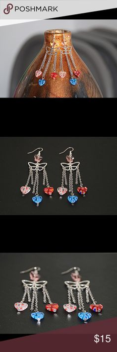 Chandelier earrings heart & butterfly bead details Chandelier earrings with hearts and butterfly beads details  About 4 inches (10 cm)  Chandelier butterfly charms are made of lead free zinc alloy. AAA quality, 100% quality controlled manually before making  Heart shaped glass beads are unique in color and pattern  Crystal glass butterfly beads in light peach color  Colorful beads allow these earrings to be used in any occasion  One of a kind  Made with love  Please, feel free to check my…