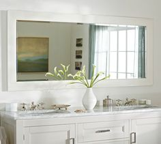 Contemporary master bathroom with double sink inset cabinets flush - Mercer Extra Long Tube Sconce Sconces Pottery Barn And