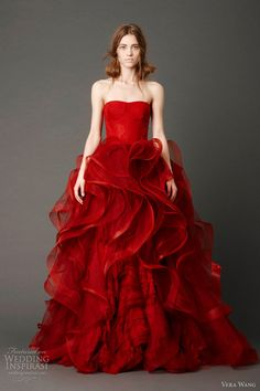 vera wang wedding dresses spring 2013 - Scarlett strapless ballgown with tulle panel skirt and embellished flange appliqué and hand-rolled floral, Chantilly lace detail.