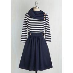 Nautical Mid-length 3 A-line Coach Tour Dress ($70) via Polyvore featuring dresses, modcloth, navy, stripes, long sleeve dress, long striped dress, a line dress, three quarter sleeve dress and navy stripe dress