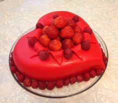 Marzipan heart cake with strawberry and raspberry Strawberry Cakes, Marzipan, Raspberry, Fruit, Heart, Food, Essen, Meals, Raspberries
