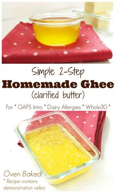 Homemade Ghee (Clarified Butter) for GAPS Intro, and Dairy Allergies - Health, Home, & Happiness Healthy Snacks For Kids, Easy Snacks, Healthy Dinner Recipes, Cooking Recipes, Chicken Marinade Recipes, Ketogenic Recipes, Paleo Recipes, Gaps Diet, Food Intolerance