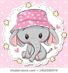 Cute Elephant in panama hat on a pink background. Cute Cartoon Elephant in a pink panama hat on a pink background royalty free illustration Baby Elephant Drawing, Cute Elephant, Elephant Hat, Kawaii 365, Bunny Painting, Cute Baby Wallpaper, Children Sketch, Disney Cartoon Characters, Cute Cartoon Animals
