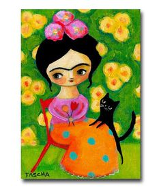 ORIGINAL portrait painting FRIDA Kahlo and black CAT with green wallpaper acrylic painting on canvas by tascha